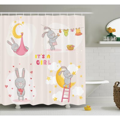 Gretna Cute Bunny Baby Love Moon Shower Curtain Set Size: 70 H x 69 W