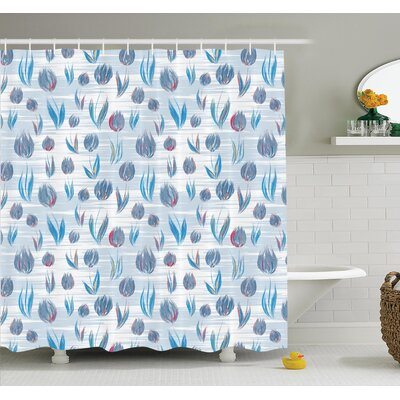 Floral Painting Effect Tulips Shower Curtain Set Size: 75 H x 69 W