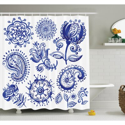 Sketch Hot Air Balloon Travel Shower Curtain Set Size: 84 H x 69 W