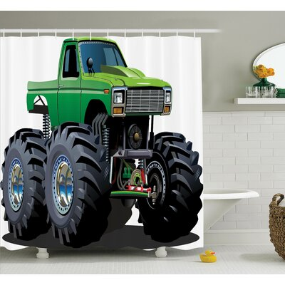 Myaa Monster Pickup Truck Shower Curtain Set Size: 70 H x 69 W