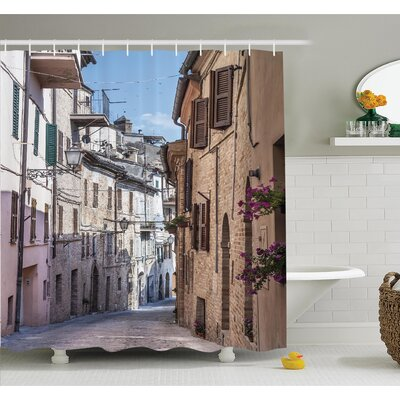 Italian Old Town Street Shower Curtain Set Size: 70 H x 69 W