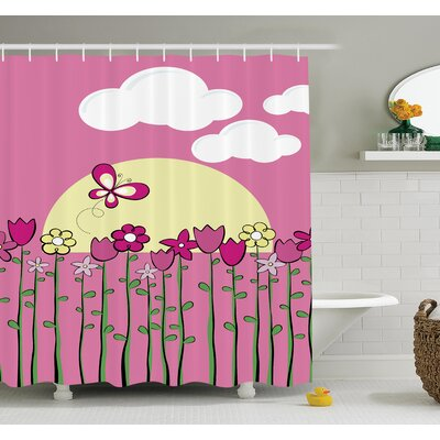 Gretna Flowers Butterflies Shower Curtain Set Size: 84 H x 69 W
