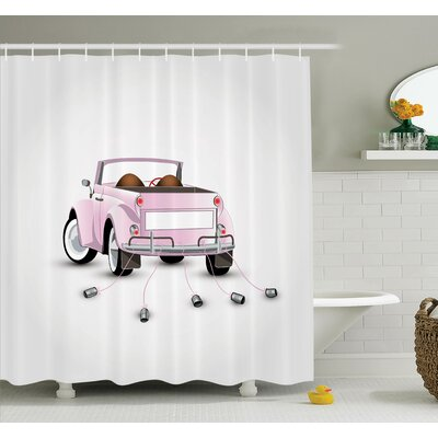 Junya Just Married Cartoon Car Shower Curtain Set Size: 84 H x 69 W