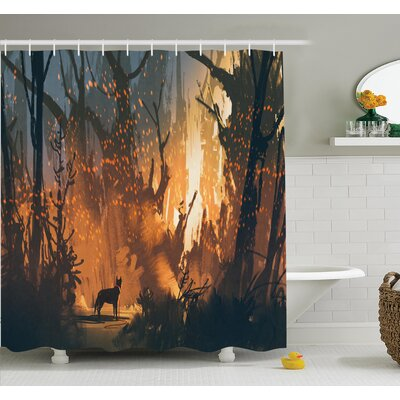 Lost Dog in Forest Art Shower Curtain Set Size: 70