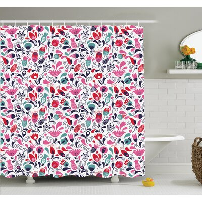 Floyd Swirling Tulip Art Shower Curtain Set Size: 84 H x 69 W