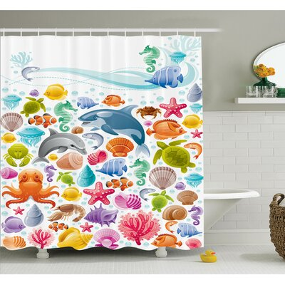 Kids Tropical Ocean Animals Shower Curtain Set Size: 84 H x 69 W