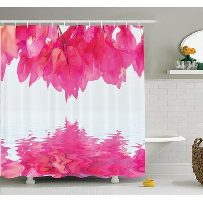 Nature Leaves on River Shower Curtain Set Size: 75 H x 69 W