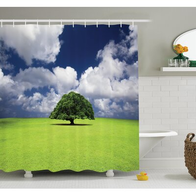 Nature Old Tree in Grass Field Shower Curtain Set Size: 84 H x 69 W