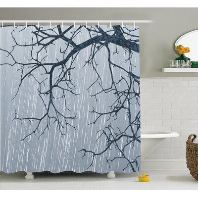 Tree Rainy Day Branches Shower Curtain Set Size: 84 H x 69 W