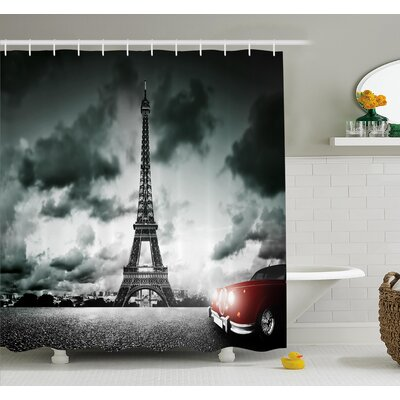 Eiffel Tower Cloudy Day Shower Curtain Set Size: 70 H x 69 W