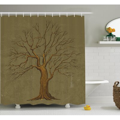 Tree Old Paper Effect Vintage Shower Curtain Set Size: 84 H x 69 W