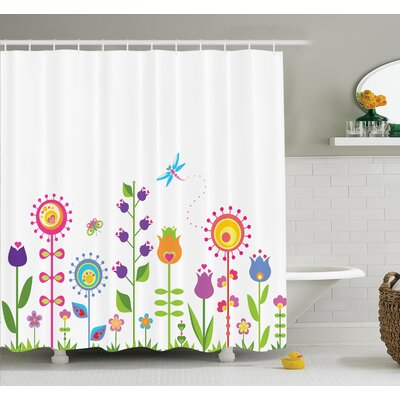 Gretna Cute Floral Cartoon Art Shower Curtain Set Size: 75 H x 69 W