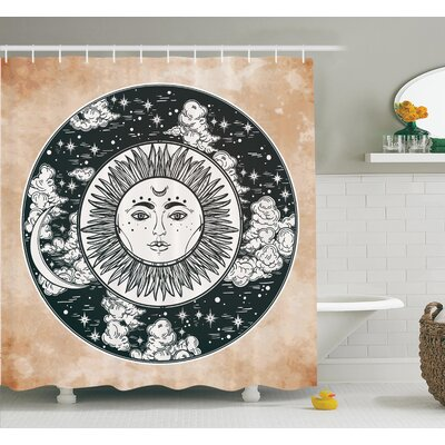 Ethnic Sun Face Moon Shower Curtain Set Size: 70