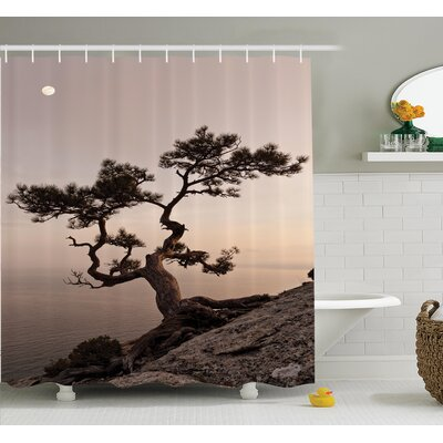Tree Moon Cliff Sea Mountain Shower Curtain Set Size: 70 H x 69 W