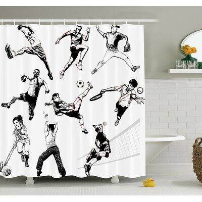 Sketch Sports Playing Themed Shower Curtain Set Size: 75 H x 69 W