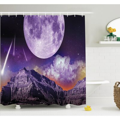 Outer Space Moon and Asteroids Shower Curtain Set Size: 70 H x 69 W