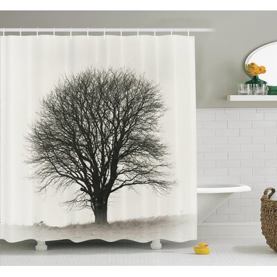 Fall Tree Monochrome Art Shower Curtain Set Size: 84 H x 69 W