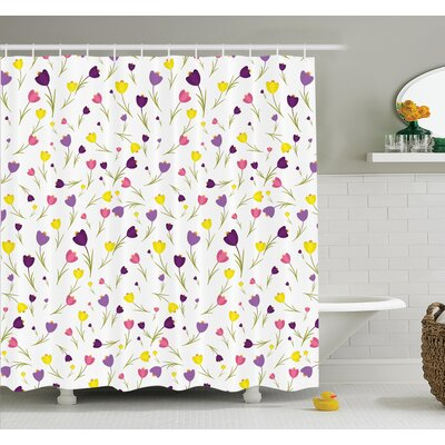 Floyd Tulips Spring Romantic Shower Curtain Set Size: 84 H x 69 W