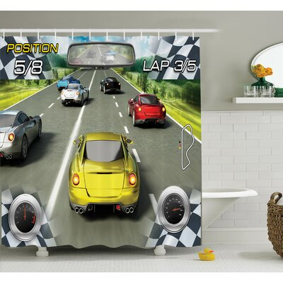 Motor Sports Racing Shower Curtain Set Size: 75 H x 69 W