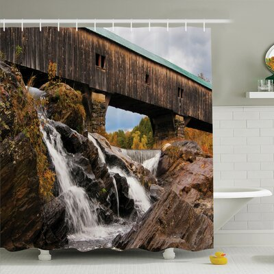 Waterfall Rustic Oak Bridge Shower Curtain Set Size: 75 H x 69 W