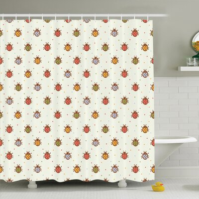 Gretna Pastel Colored Ladybugs Shower Curtain Set Size: 84 H x 69 W