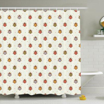 Gretna Pastel Colored Ladybugs Shower Curtain Set Size: 70