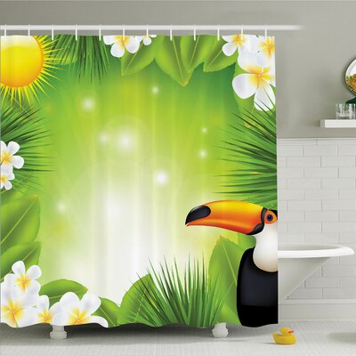 Tropical Hawaii Exotic Jungle Shower Curtain Set Size: 75 H x 69 W