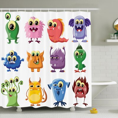 Kids Cartoon Alien Monsters Shower Curtain Set Size: 84 H x 69 W