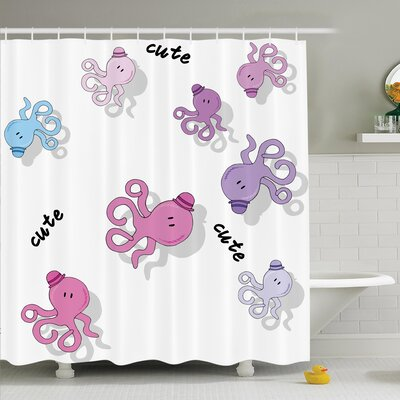 Kids Cute Cartoon Octopus Art Shower Curtain Set Size: 75 H x 69 W
