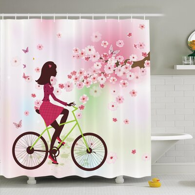 Cherry Bloom Lady on Bike Shower Curtain Set Size: 84 H x 69 W