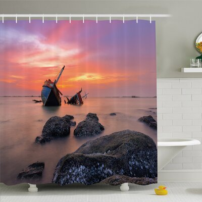 Ocean Sunken Boat Vessel in Foggy Water before Exquisite Sky at Sunset Image Shower Curtain Set Size: 75 H x 69 W