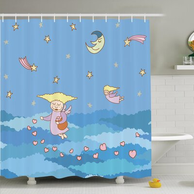 Lizbeth Cartoon Flying Shower Curtain Set Size: 70