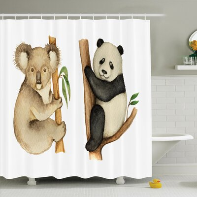 Joellen Koala Panda Watercolor Shower Curtain Set Size: 75 H x 69 W