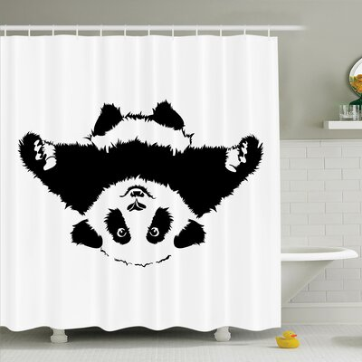 Joellen Cute Panda Wants to Hug Shower Curtain Set Size: 84 H x 69 W
