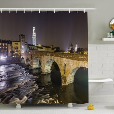 Roloff Ancient Roman Bridge Shower Curtain Set Size: 70 H x 69 W