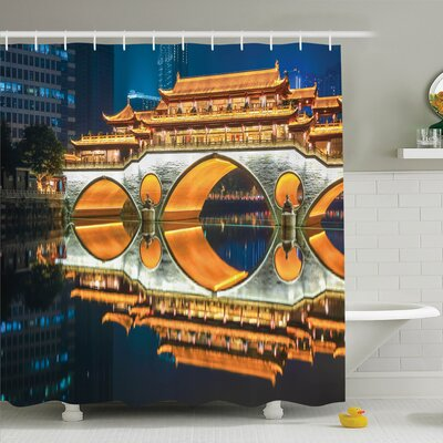 Nautical Big Bridge in China Shower Curtain Set Size: 70 H x 69 W