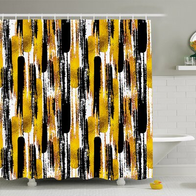 Modern Art Home Grunge Brushstroke Expressionist Background with Paint Effects Design Shower Curtain Set Size: 75 H x 69 W