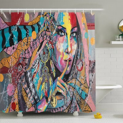 Modern Art Home Talisman Girl with Indian Dreamcatcher and Tribal Murky Boho Paint �Shower Curtain Set Size: 84 H x 69 W