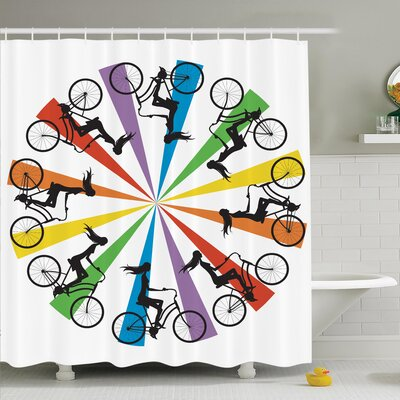 Teen on Bike Rainbow Shower Curtain Set Size: 84 H x 69 W