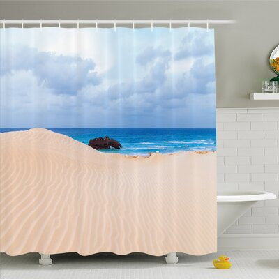 Ocean Boat Crash by Exotic Tropical Beach in African Shore Dream Atlantic Ocean Shower Curtain Set Size: 70 H x 69 W