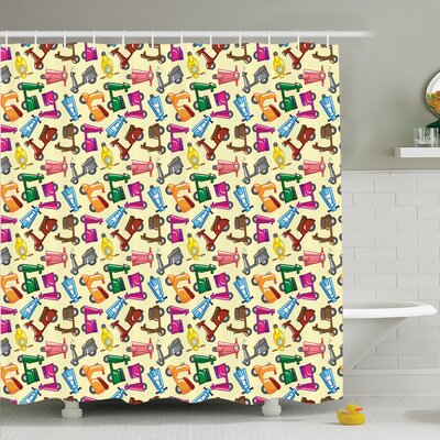 Lake Colorful Motorcycles Shower Curtain Set Size: 75 H x 69 W