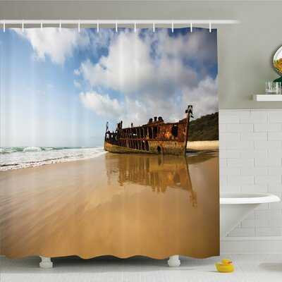 Ocean Antique Rusty Pirate Ship Wreck on the Coast in Caribbean Island Pacific Sea Shower Curtain Set Size: 70