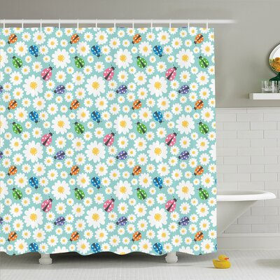 Ivor Daisies and Ladybugs Shower Curtain Set Size: 84 H x 69 W
