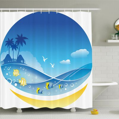 Tropical Cartoon Sea Shower Curtain Set Size: 84 H x 69 W