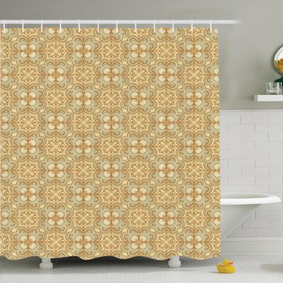 Damask Vintage Bohemian Shower Curtain Set Size: 75 H x 69 W