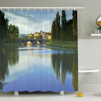 Nature River Bridge Town Trees Shower Curtain Set Size: 84 H x 69 W