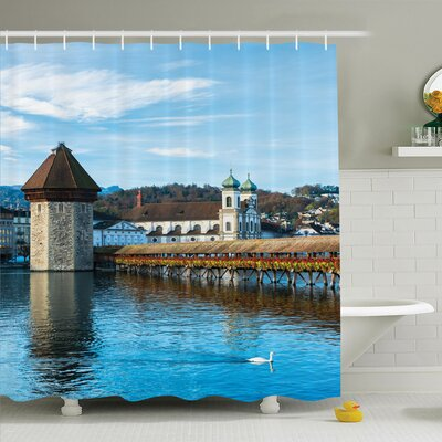 Rustic European Town Bridge Shower Curtain Set Size: 70 H x 69 W