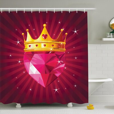 Diamond Crown Art Shower Curtain Set Size: 70 H x 69 W