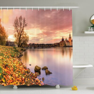 Tamekia Prague Riverside Autumn Shower Curtain Set Size: 84 H x 69 W