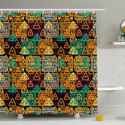 Modern Art Home Folk Aztec Motif with Ornate Triangles Rounds and Inner Spots Dots Figures Shower Curtain Set Size: 84 H x 69 W